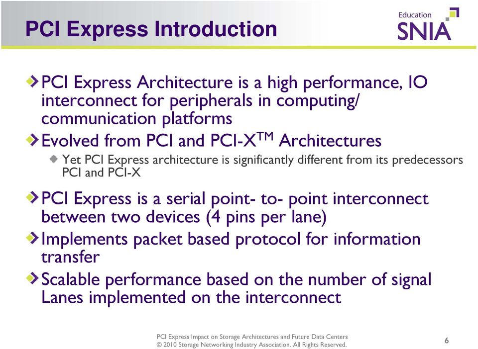 its predecessors PCI and PCI-X PCI Express is a serial point- to- point interconnect between two devices (4 pins per lane)