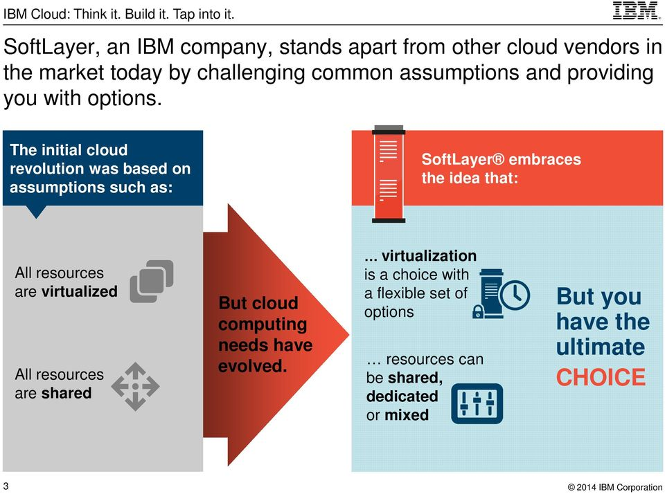 The initial cloud revolution was based on assumptions such as: SoftLayer embraces the idea that: All resources are