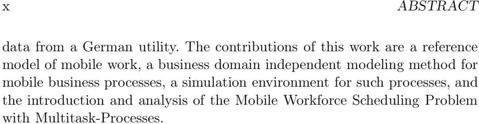domain independent modeling method or mobile business processes, a simulation