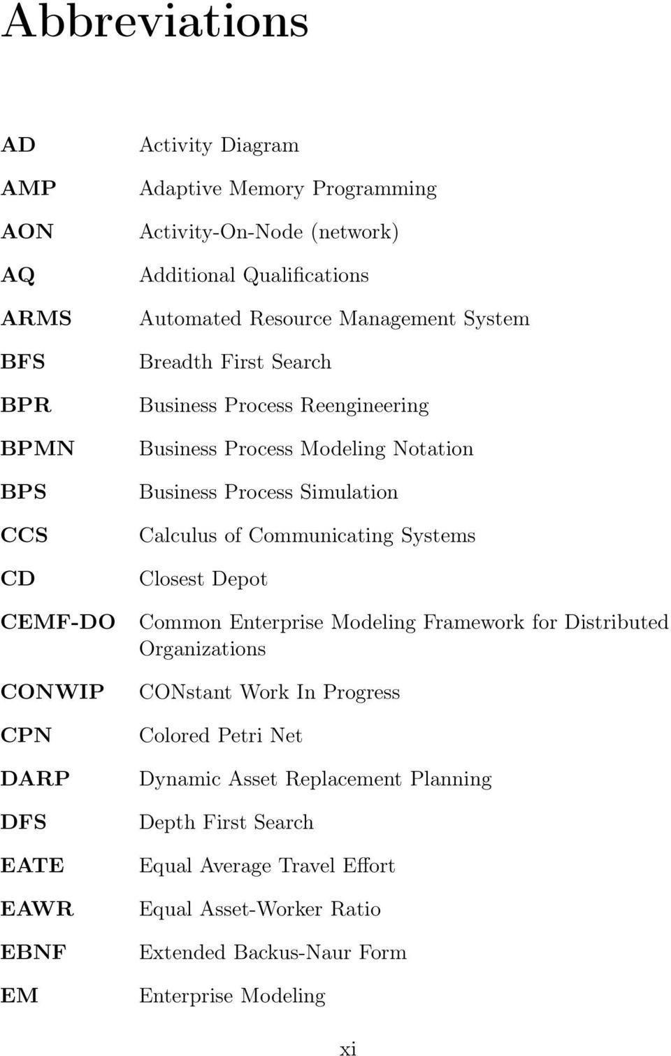 Business Process Simulation Calculus o Communicating Systems Closest Depot Common Enterprise Modeling Framework or Distributed Organizations CONstant Work In
