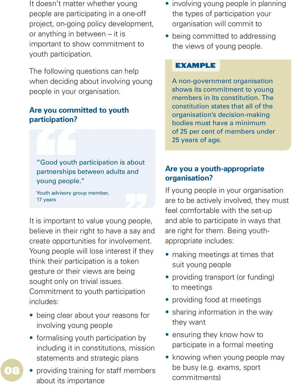 involving young people in planning the types of participation your organisation will commit to being committed to addressing the views of young people.