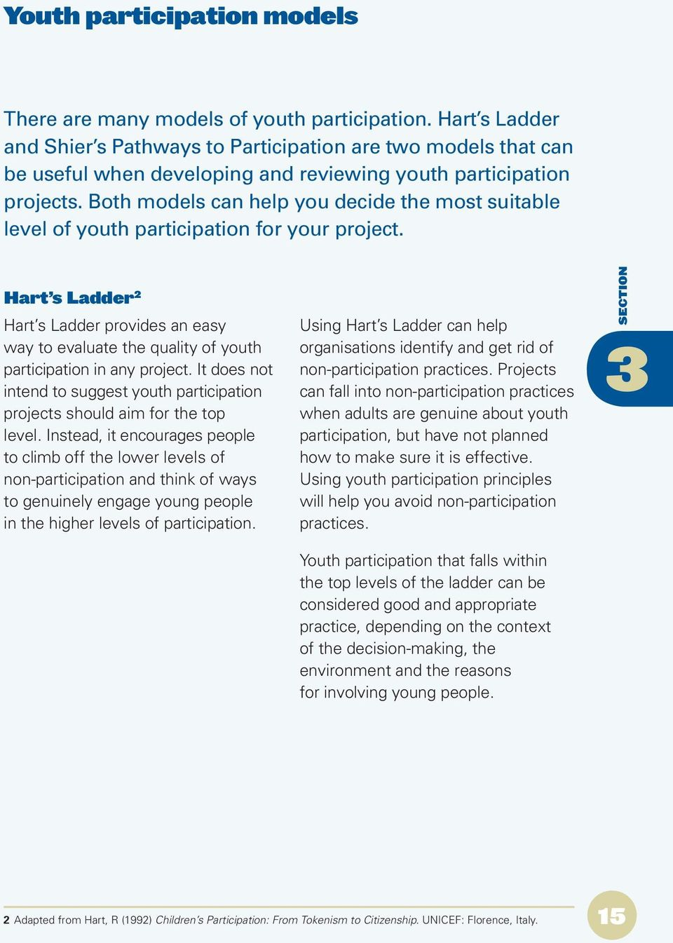 Both models can help you decide the most suitable level of youth participation for your project.