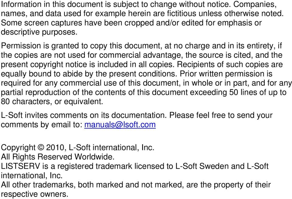 Permission is granted to copy this document, at no charge and in its entirety, if the copies are not used for commercial advantage, the source is cited, and the present copyright notice is included