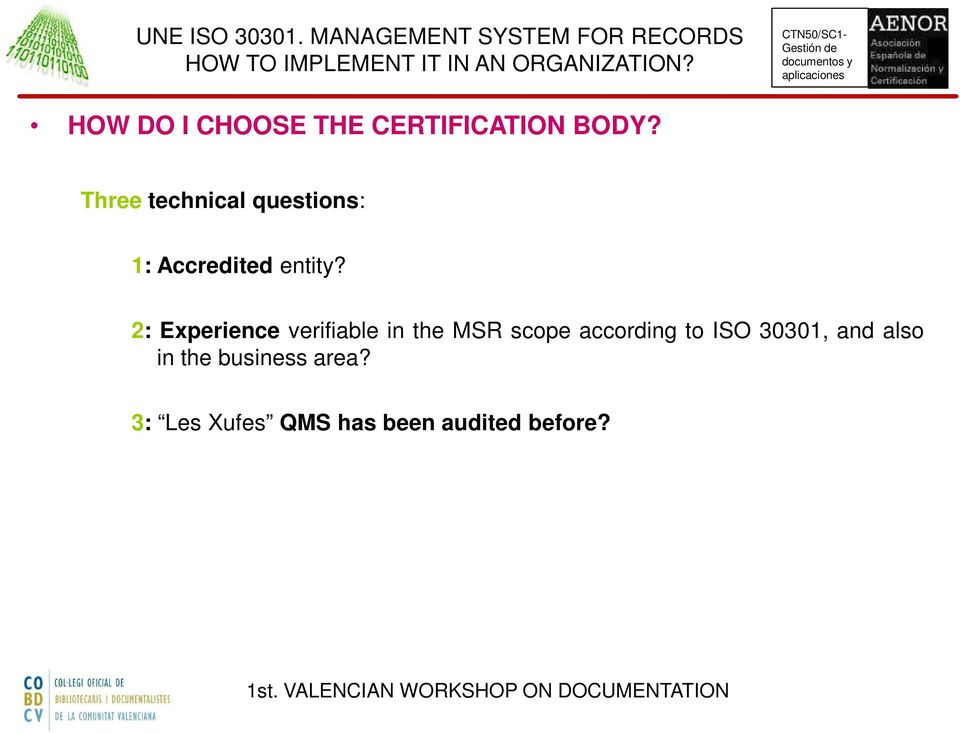 2: Experience verifiable in the MSR scope according to