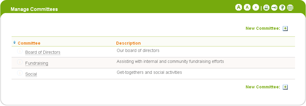 Committees With Committees, you can add volunteers and administrators to a group which can optionally communicate with each other via email. You can also find people by their committee membership.
