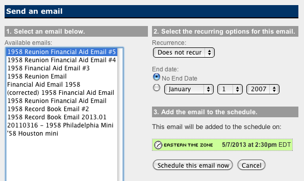 Schedule and Send your Email 1. Click on the Send & Schedule tab. 2. You will see a page containing a calendar (today s date will be highlighted). 3. Click on the date you want to send the email.