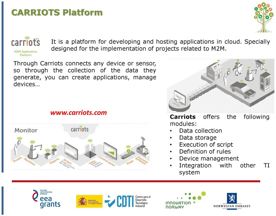 Through Carriots connects any device or sensor, so through the collection of the data they generate, you can create
