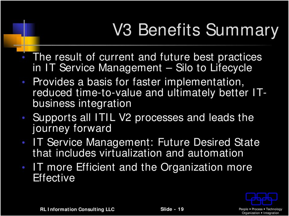 processes and leads the journey forward IT Service : Future Desired State that includes virtualization and automation