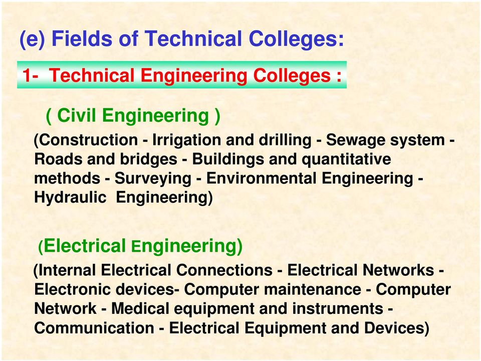 Hydraulic Engineering) (Electrical Engineering) (Internal Electrical Connections - Electrical Networks - Electronic devices-