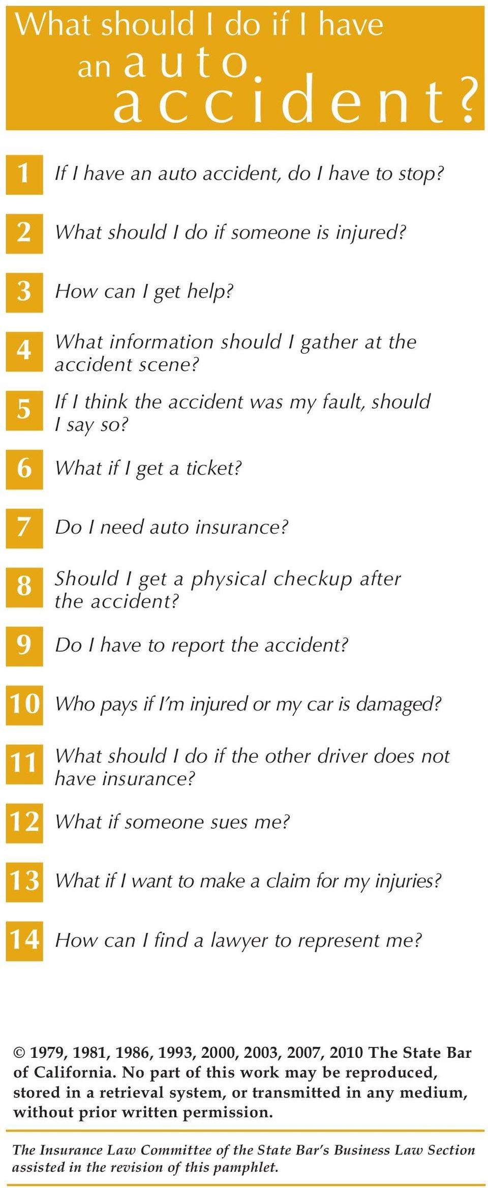 8 Should I get a physical checkup after the accident? 9 Do I have to report the accident? 10 Who pays if I m injured or my car is damaged?