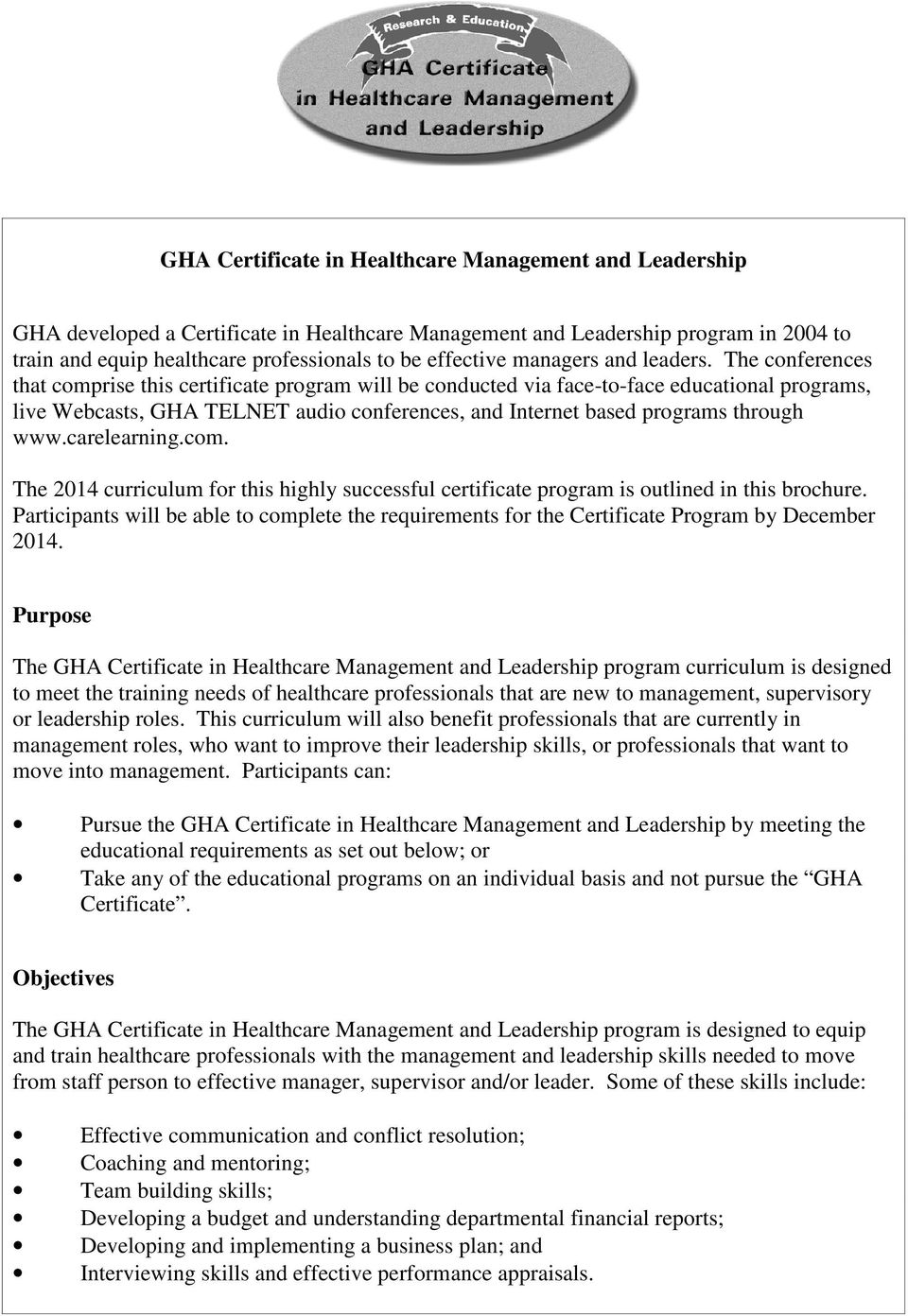 Gha Certificate In Healthcare Management And Leadership Pdf