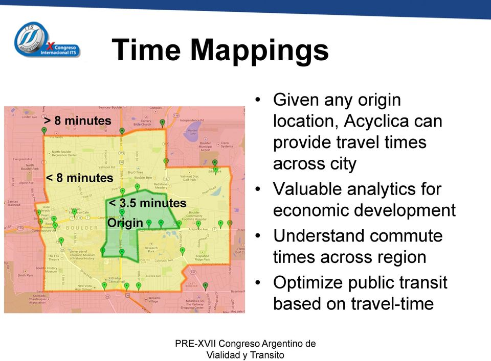 travel times across city Valuable analytics for economic