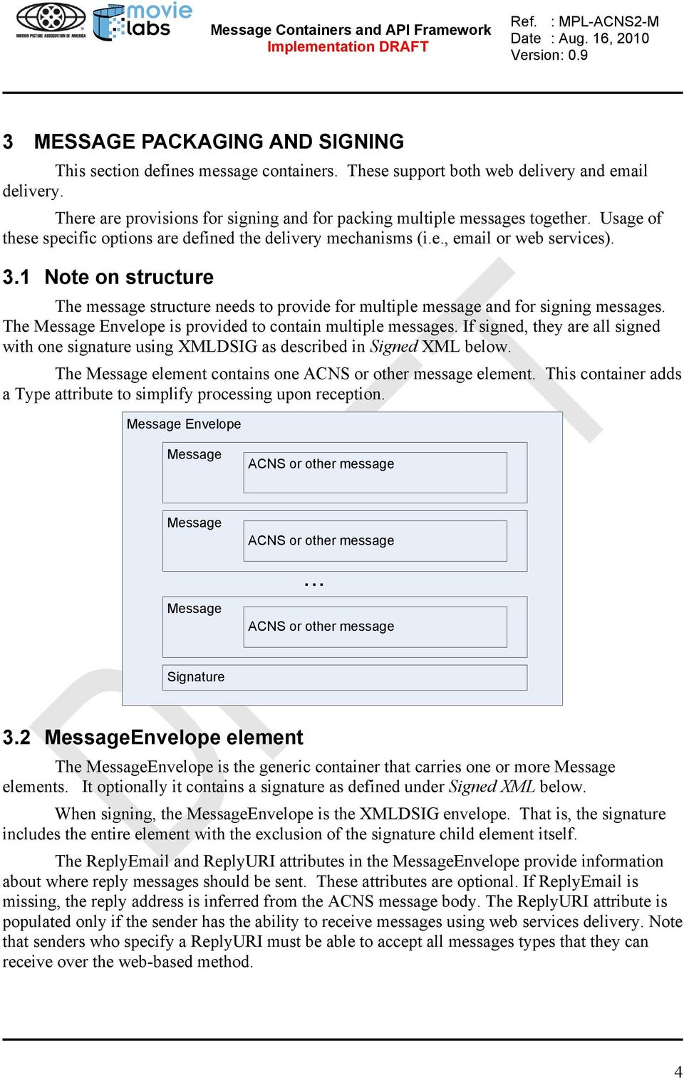 1 Note on structure The message structure needs to provide for multiple message and for signing messages. The Message Envelope is provided to contain multiple messages.