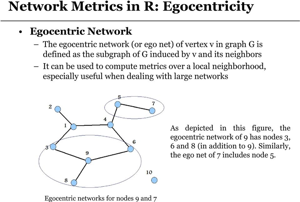 neighborhood, especially useful when dealing with large networks As depicted in this figure, the egocentric network