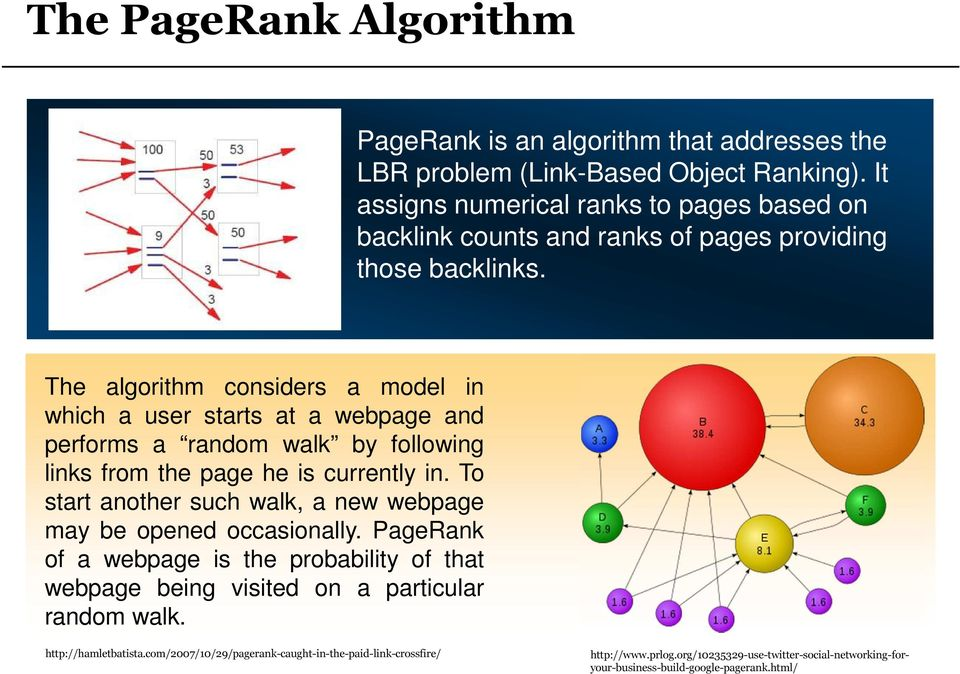 The algorithm considers a model in which a user starts at a webpage and performs a random walk by following links from the page he is currently in.