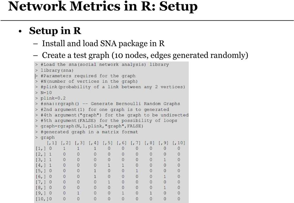 package in R Create a test graph