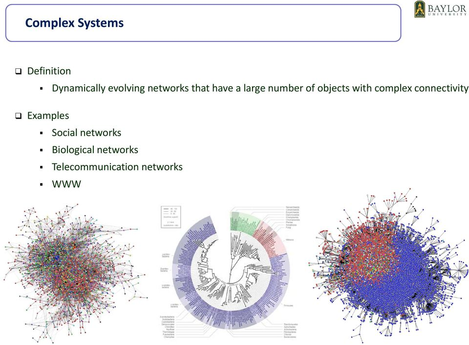 complex connectivity Examples Social networks