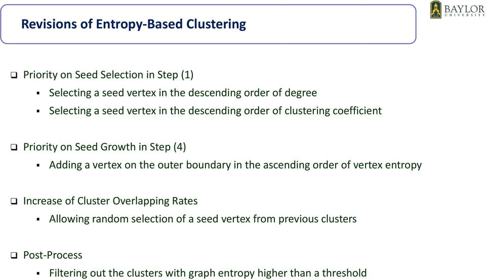 vertex on the outer boundary in the ascending order of vertex entropy Increase of Cluster Overlapping Rates Allowing random