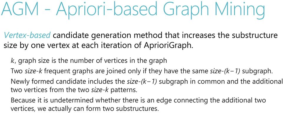 kk, graph size is the number of vertices in the graph Two size-k frequent graphs are joined only if they have the same size-(k 1) subgraph.
