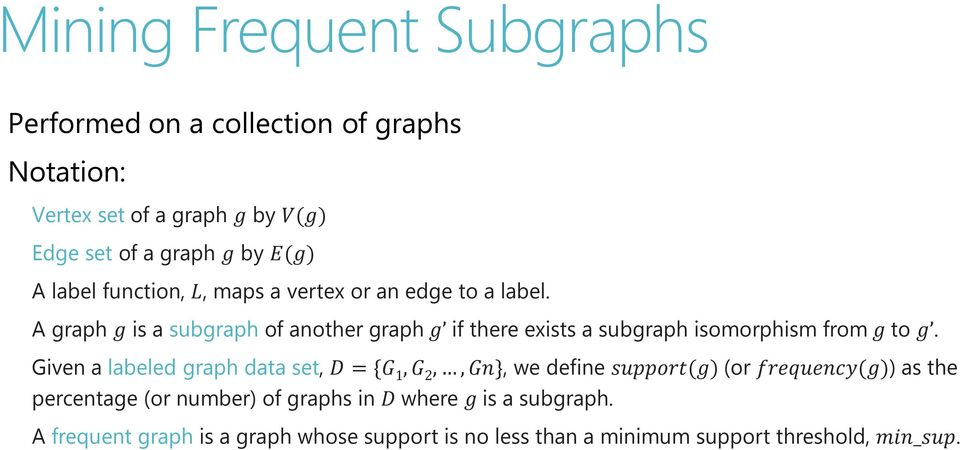 graph gg is a subgraph of another graph ggg if there exists a subgraph isomorphism from gg to ggg.