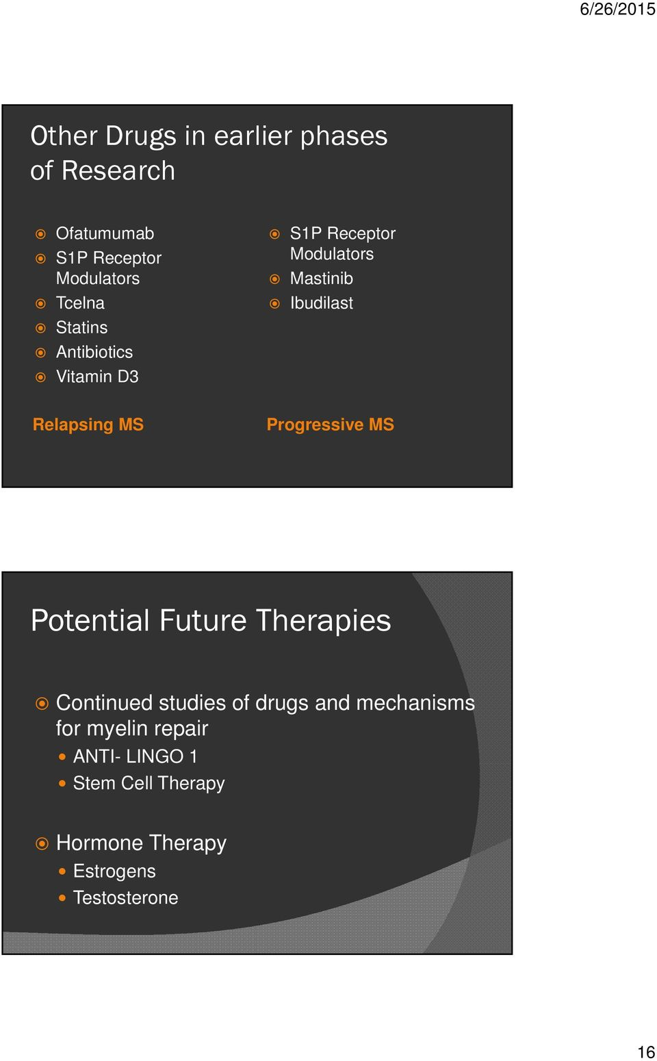 Progressive MS Potential Future Therapies Continued studies of drugs and mechanisms