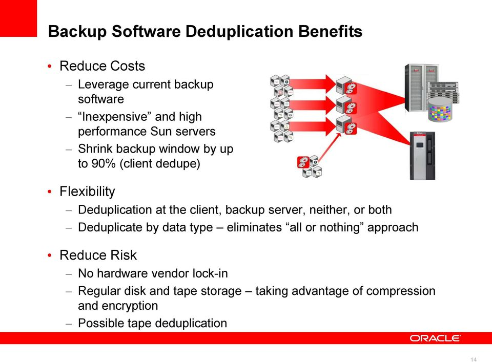 backup server, neither, or both Deduplicate by data type eliminates all or nothing approach Reduce Risk No