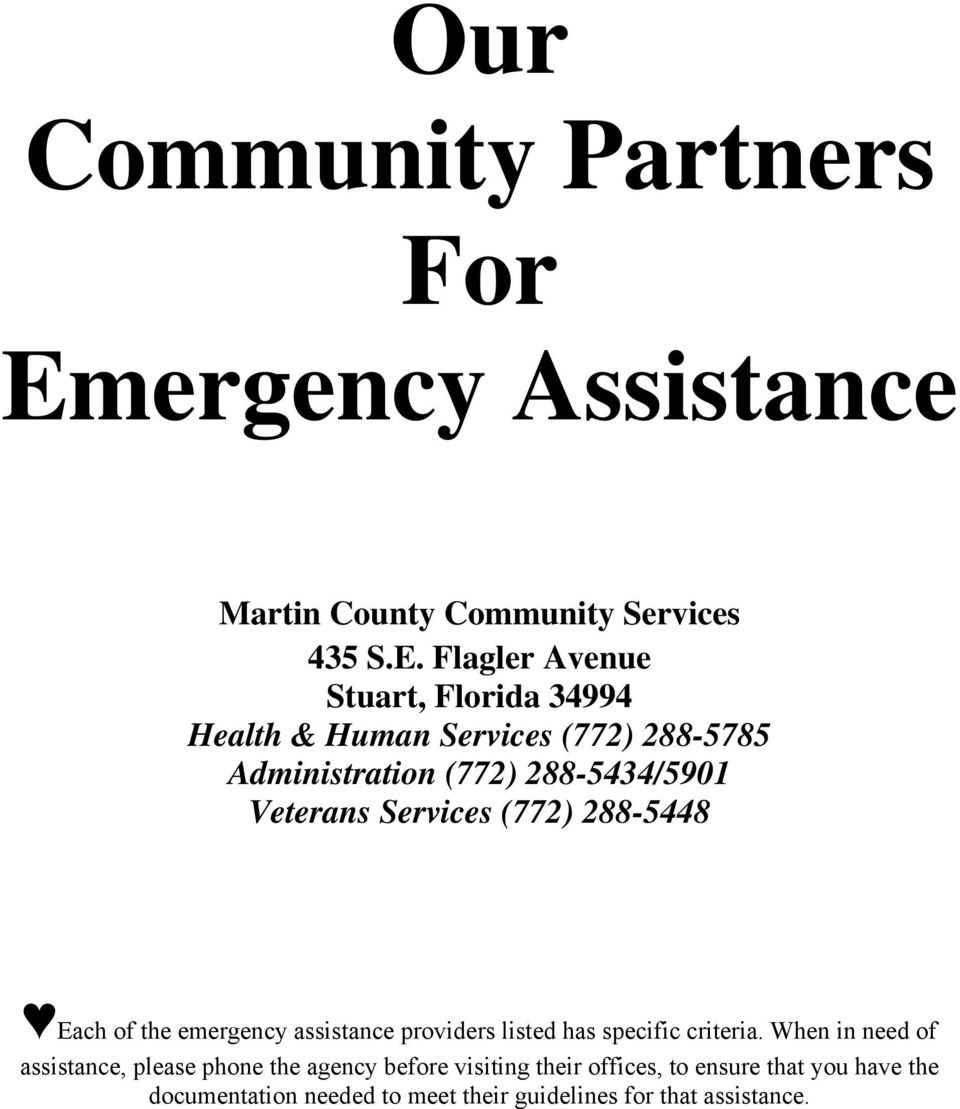 Flagler Avenue Health & Human Services (772) 288-5785 Administration (772) 288-5434/5901 Veterans Services (772)