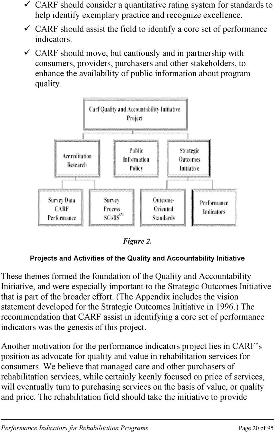 CARF should move, but cautiously and in partnership with consumers, providers, purchasers and other stakeholders, to enhance the availability of public information about program quality. Figure 2.