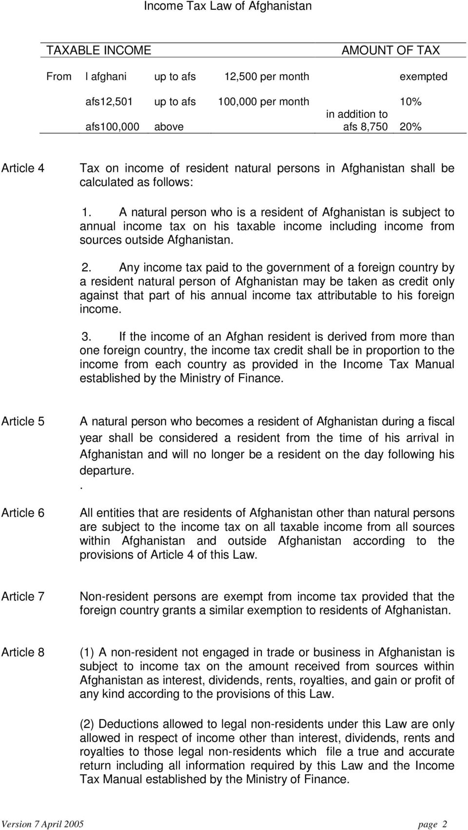 A natural person who is a resident of Afghanistan is subject to annual income tax on his taxable income including income from sources outside Afghanistan. 2.