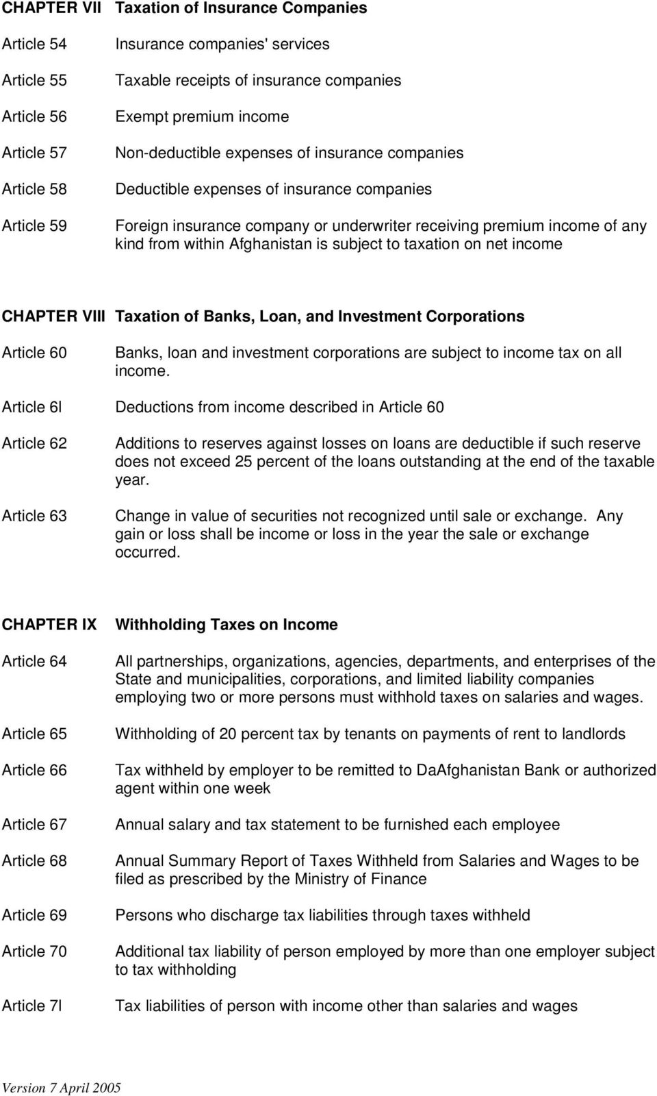 is subject to taxation on net income CHAPTER VIII Taxation of Banks, Loan, and Investment Corporations Article 60 Banks, loan and investment corporations are subject to income tax on all income.
