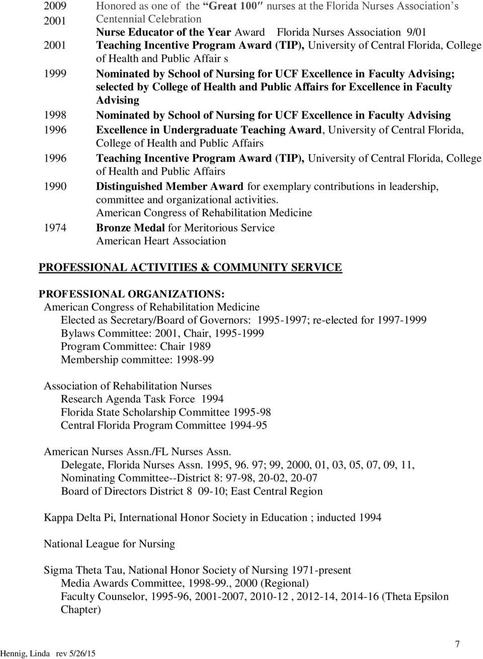 Public Affairs for Excellence in Faculty Advising 1998 Nominated by School of Nursing for UCF Excellence in Faculty Advising 1996 Excellence in Undergraduate Teaching Award, University of Central