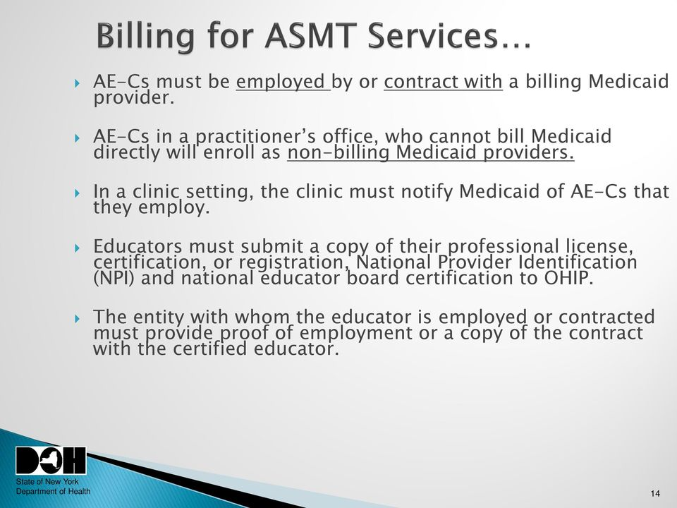 In a clinic setting, the clinic must notify Medicaid of AE-Cs that they employ.