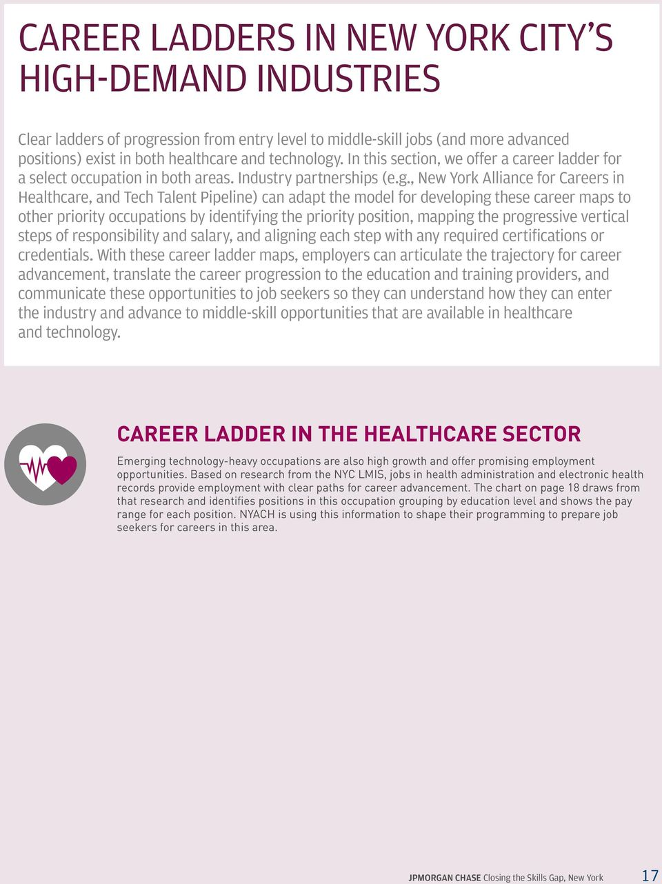 , New York Alliance for Careers in Healthcare, and Tech Talent Pipeline) can adapt the model for developing these career maps to other priority occupations by identifying the priority position,