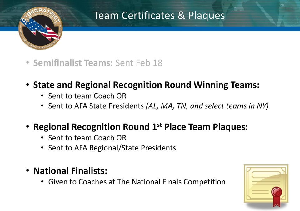 and select teams in NY) Regional Recognition Round 1 st Place Team Plaques: Sent to team Coach OR