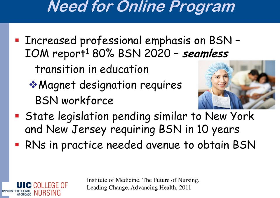 pending similar to New York and New Jersey requiring BSN in 10 years RNs in practice needed