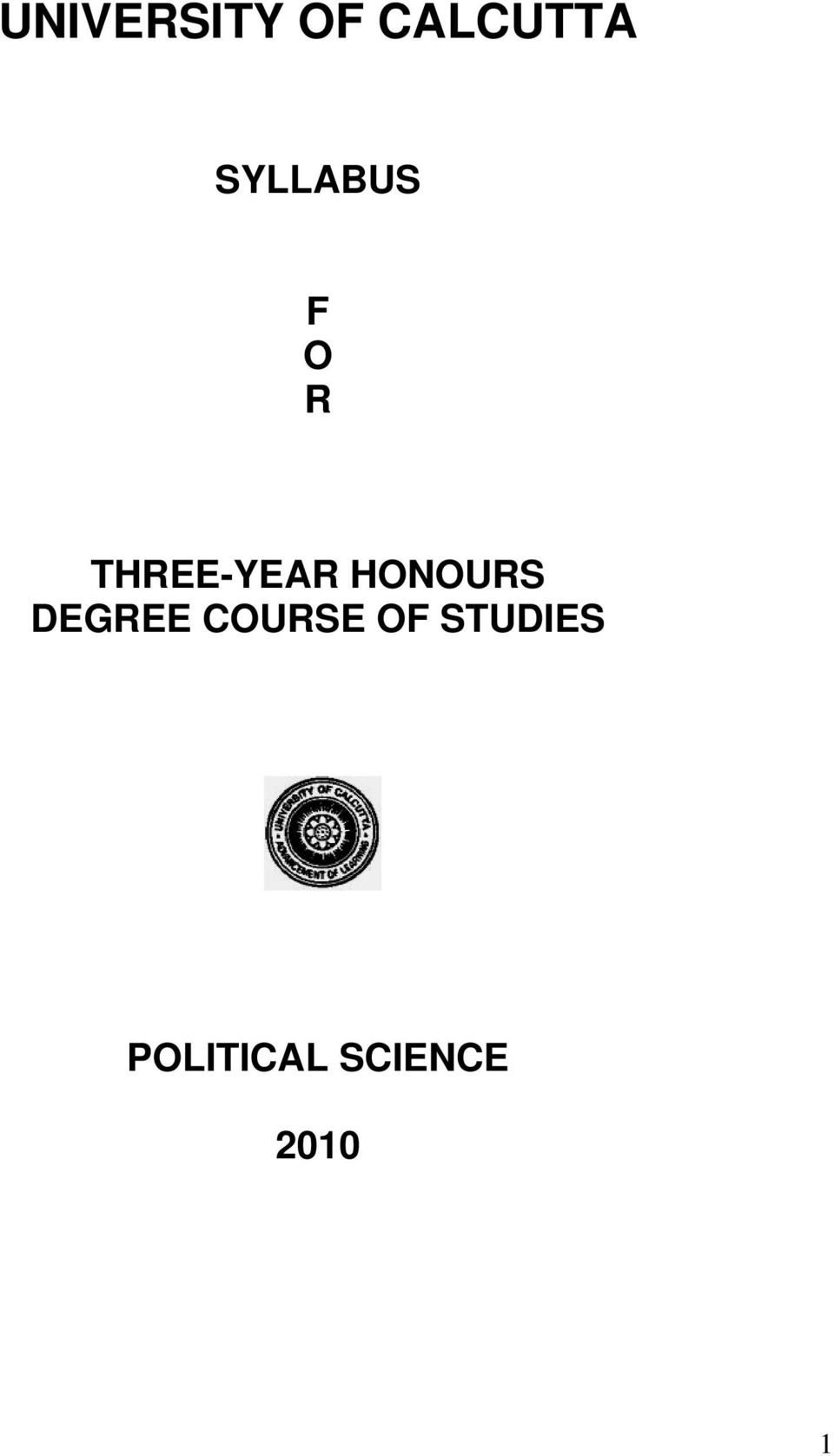 HONOURS DEGREE COURSE OF