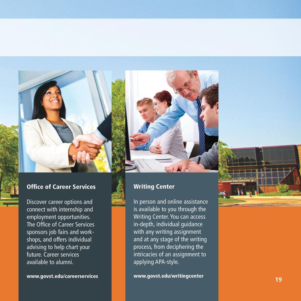 Career services available to alumni. www.govst.