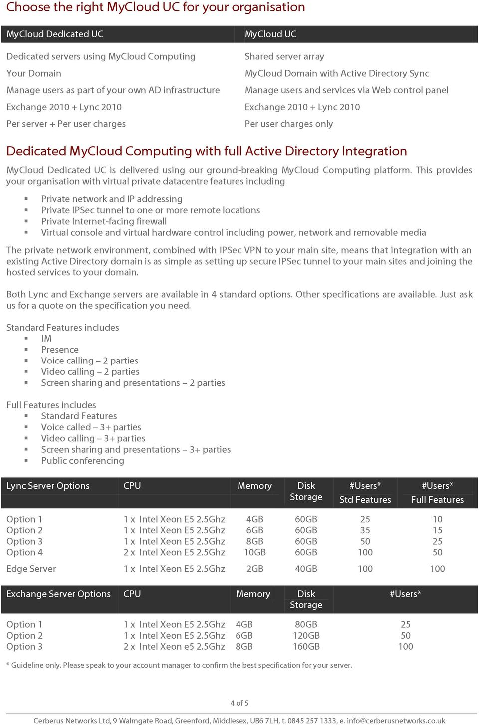 charges only Dedicated MyCloud Computing with full Active Directory Integration MyCloud Dedicated UC is delivered using our ground-breaking MyCloud Computing platform.