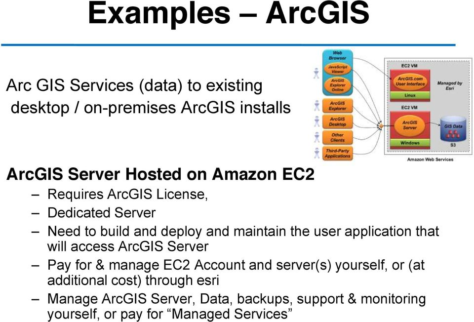 application that will access ArcGIS Server Pay for & manage EC2 Account and server(s) yourself, or (at