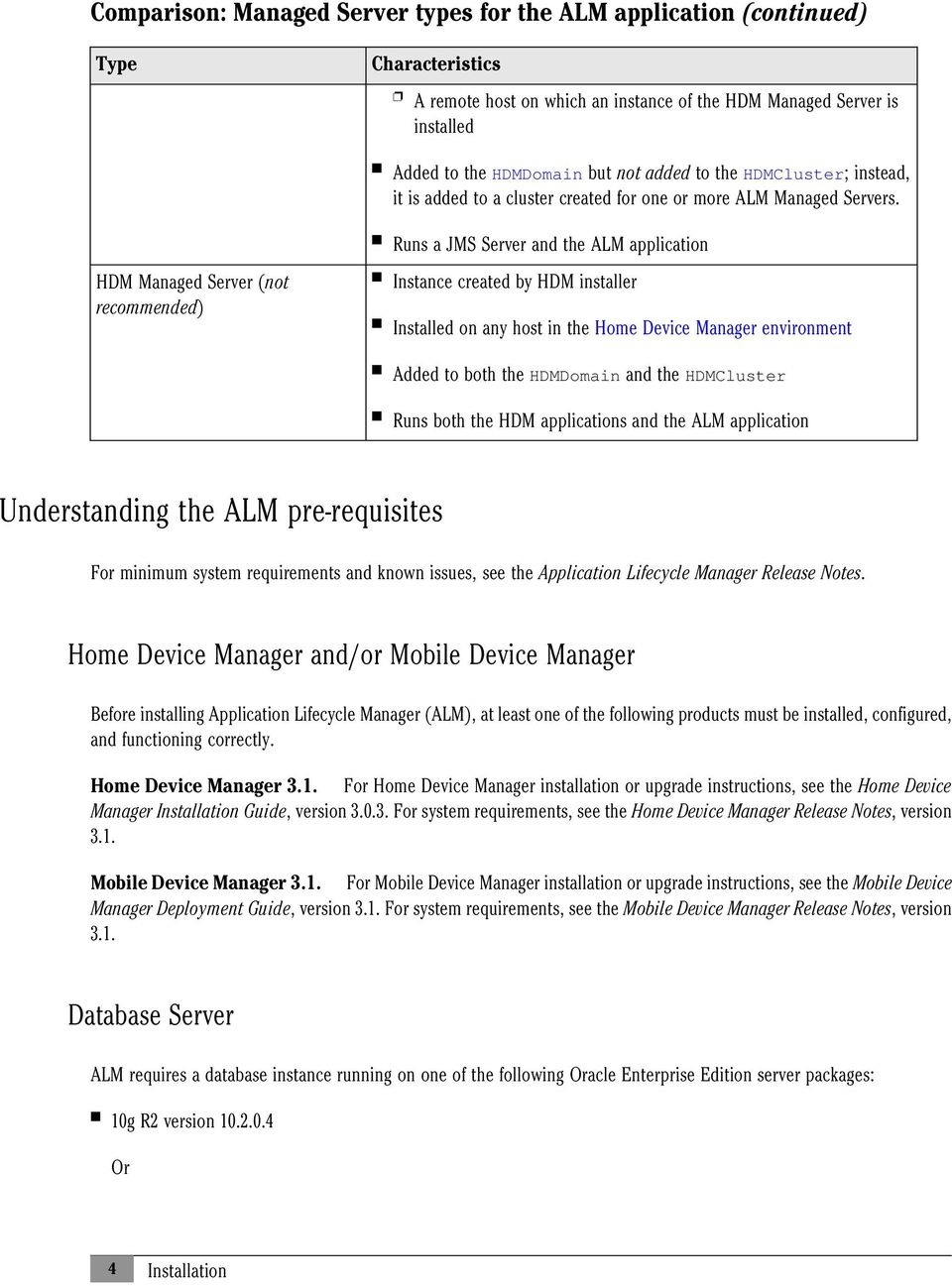 HDM Managed Server (not recommended) Runs a JMS Server and the ALM application Instance created by HDM installer Installed on any host in the Home Device Manager environment Added to both the