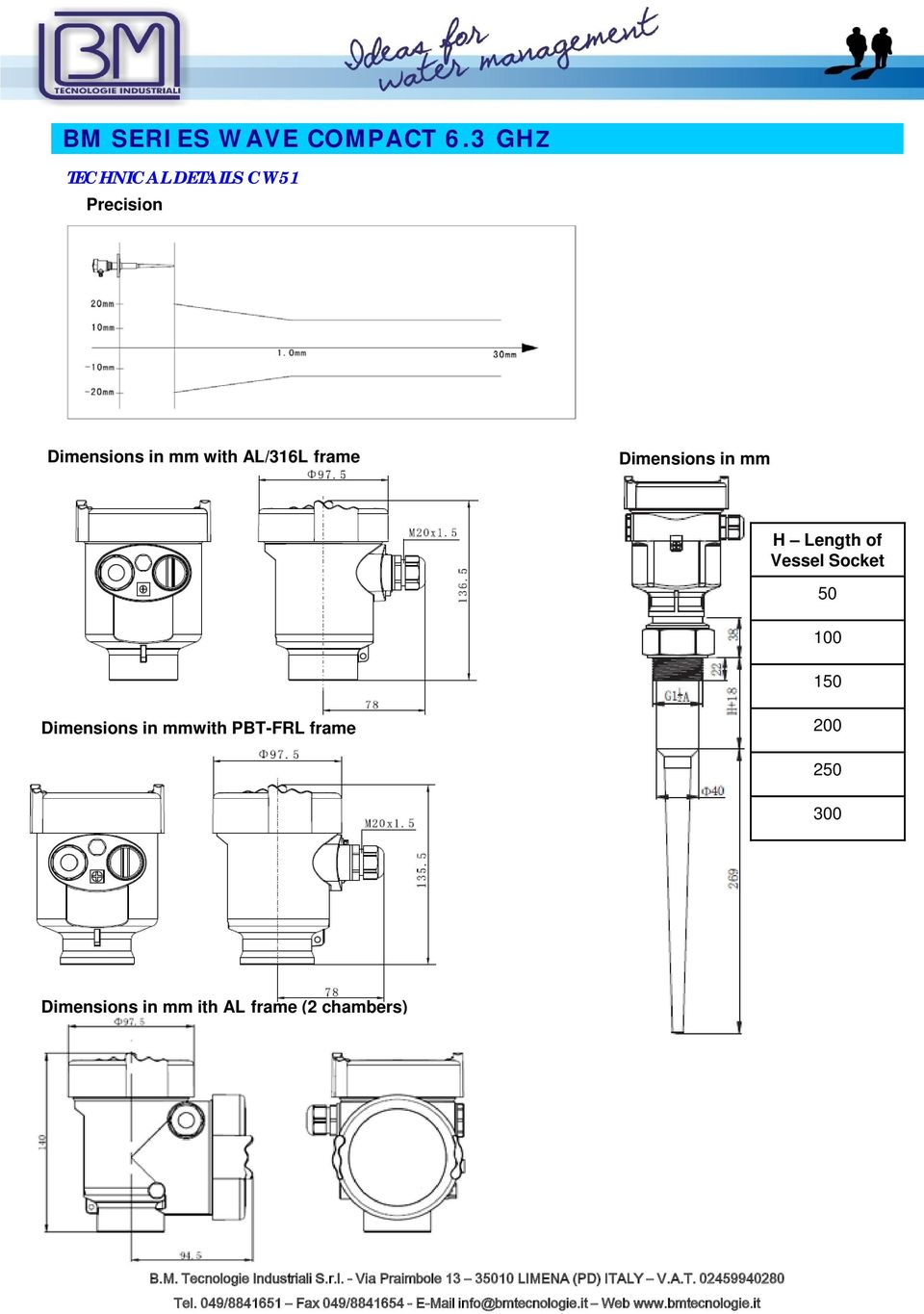 Vessel Socket 50 100 150 Dimensions in mmwith
