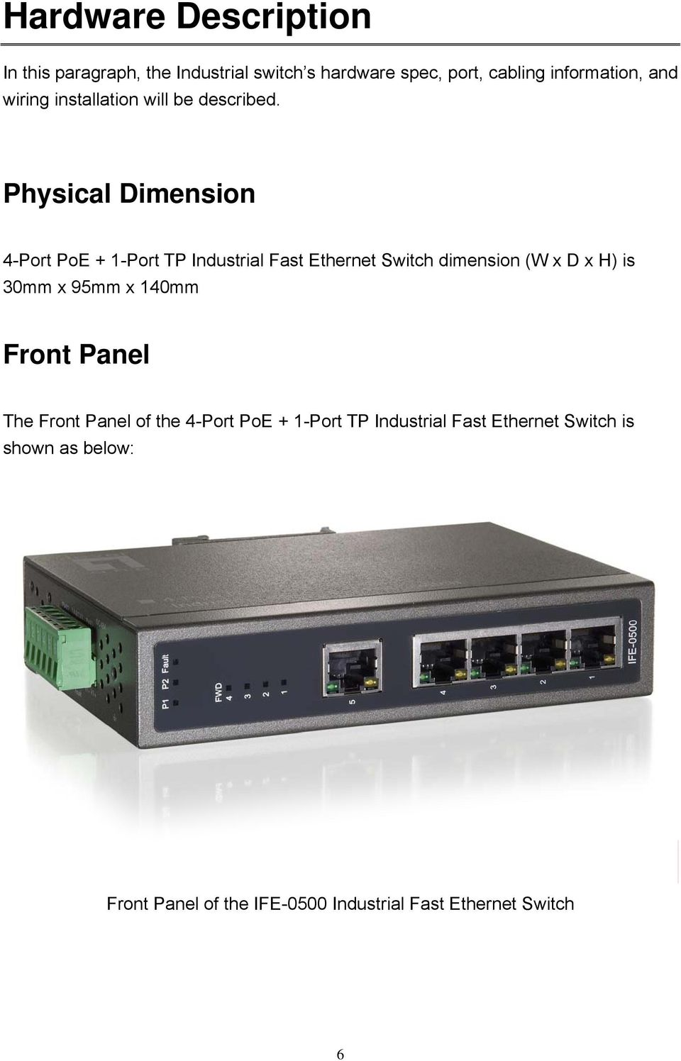 Physical Dimension 4-Port PoE + 1-Port TP Industrial Fast Ethernet Switch dimension (W x D x H) is 30mm x