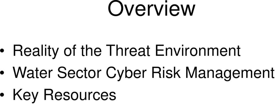Water Sector Cyber