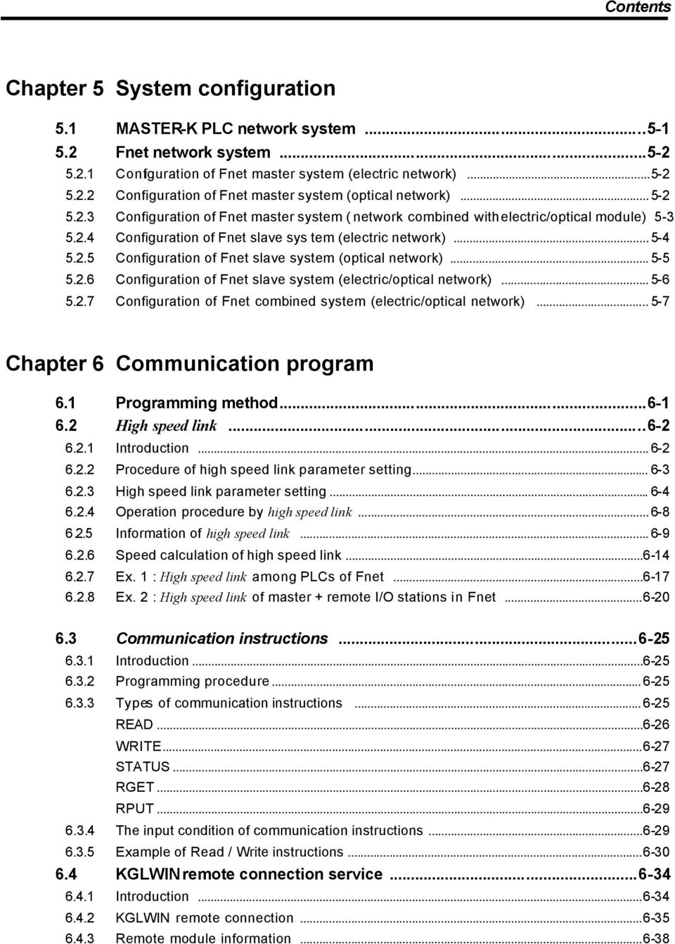 .. 5-5 5.2.6 Configuration of Fnet slave system (electric/optical network)... 5-6 5.2.7 Configuration of Fnet combined system (electric/optical network)... 5-7 Chapter 6 Communication program 6.