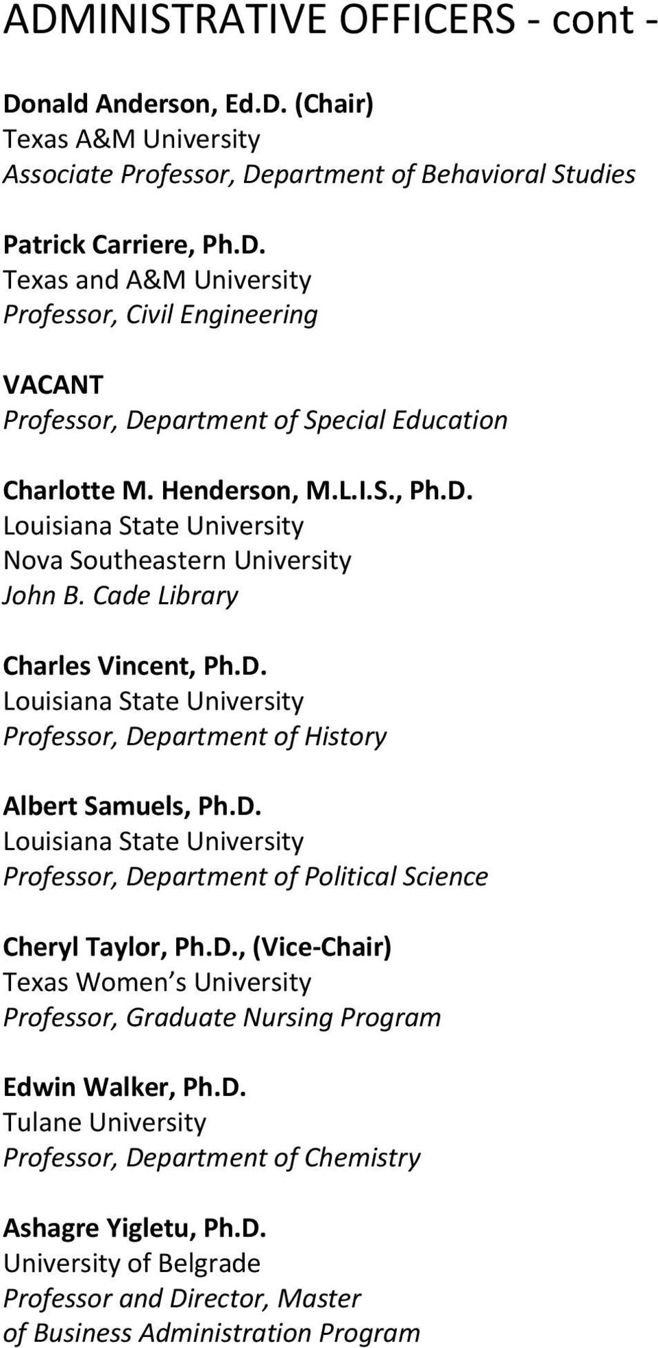 D. Louisiana State University Professor, Department of Political Science Cheryl Taylor, Ph.D., (Vice Chair) Texas Women s University Professor, Graduate Nursing Program Edwin Walker, Ph.D. Tulane University Professor, Department of Chemistry Ashagre Yigletu, Ph.