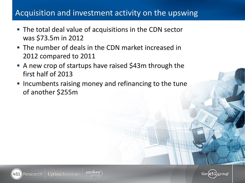 5m in 2012 The number of deals in the CDN market increased in 2012 compared to 2011