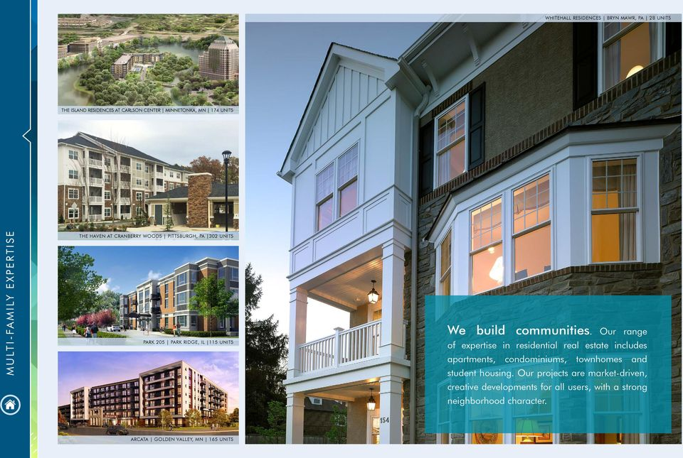 Our range of expertise in residential real estate includes apartments, condominiums, townhomes and student housing.