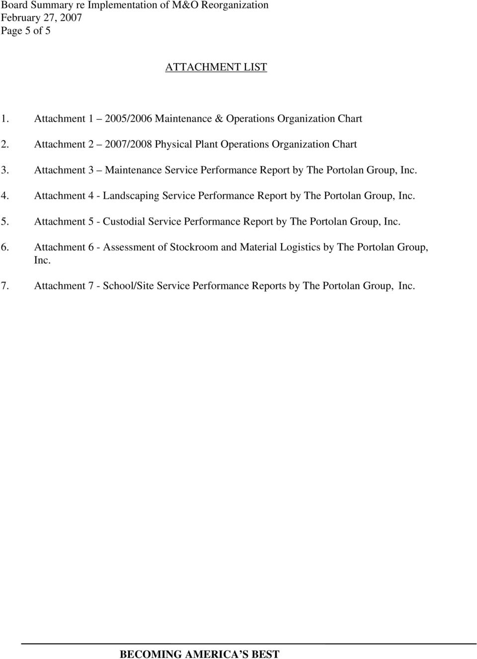 4. Attachment 4 - Landscaping Service Performance Report by The Portolan Group, Inc. 5.