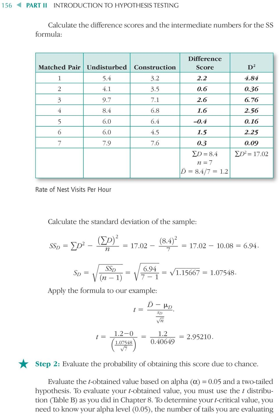 02 Calculate the standard deviation of the sample: SS D 5 +D 2 2 +D 2 n 5 17:02 2 ð8:4þ2 7 5 17:02 2 10:08 5 6:94.