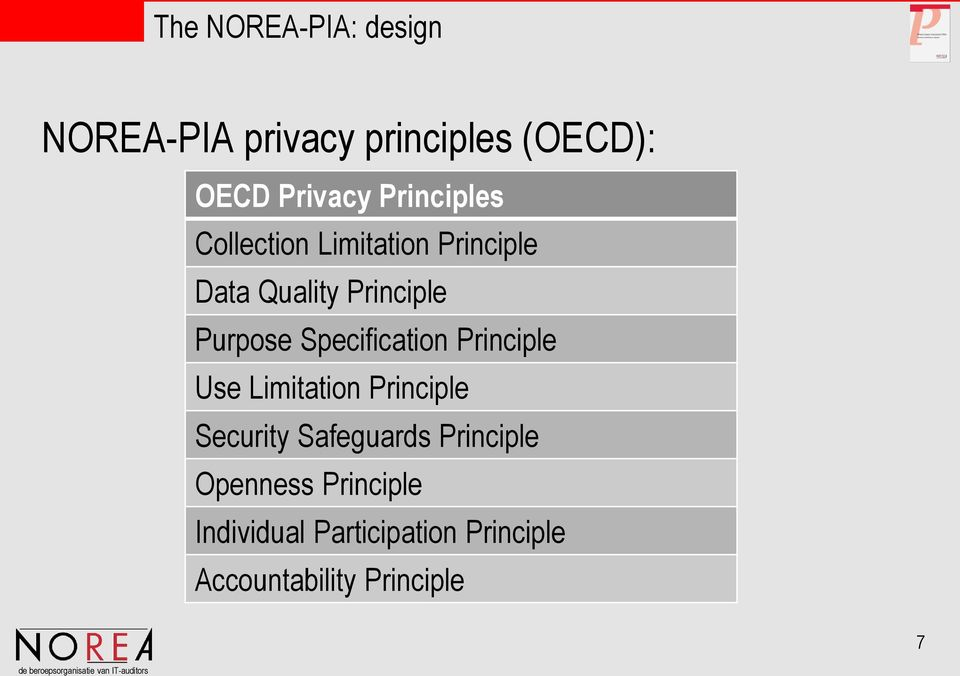 Specification Principle Use Limitation Principle Security Safeguards